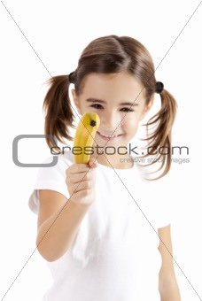 Girl shoot with a banana
