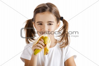 Eating a banana