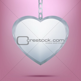 Silver pendant in shape of heart on chain. EPS 8