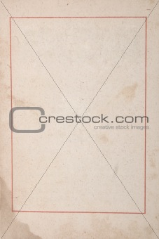 ancient paper with age marks and red frame