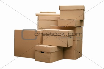 cardboard boxes arranged in stack