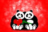 Happy Valentines Day Panda Couple Hearts Bokeh