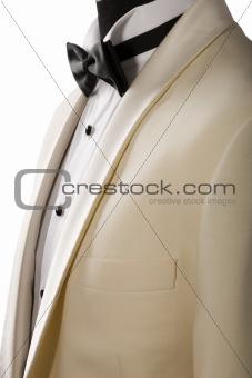 ceremony beige tuxedo, white shirt and black bowtie