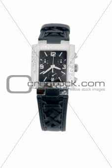 black leather and white gold watch