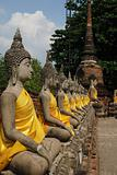 Aligned statues of Buddha ayutthaya thailand