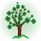 Tree with four leaf clover.