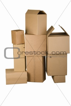 Brown different cardboard boxes arranged in stack