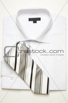 classic white shirt and striped tie