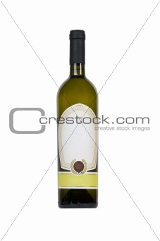green bottle of wine with blank tag
