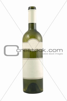 green bottle for wine with blank tag