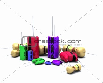 Capacitors Resistors and semi-conductors