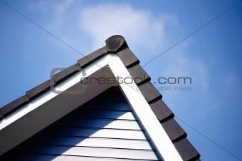Black roof with clear sky