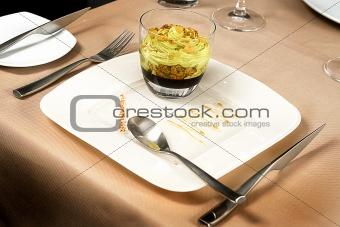 Artistic Dessert with ice-cream and raisins