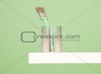 Green Paincan and brush