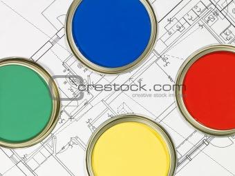 Paintcans and Blueprint