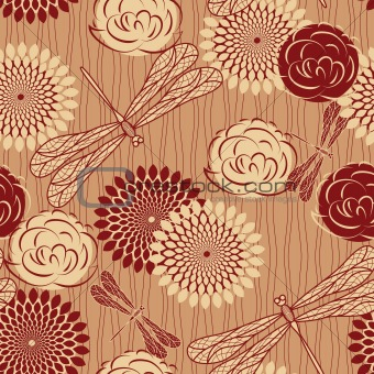 vector seamless background with vintage  flowers and dragonflies