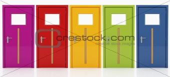 five doors in  different colors