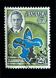 JAMAICA - CIRCA 1952 - Commemorative postage stamp marking the country's first scout movement jamboree