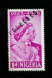 NIGERIA - CIRCA 1948 - Postage stamp coommemorating the silver wedding anniversary of King George 6th and Elizabeth Bowes-Lyon