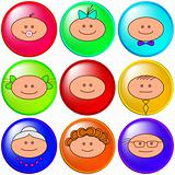 Buttons, cheerful faces, set