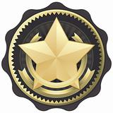 Elegant Official Seal Emblem Certification Badge or Award, Vector Illustration