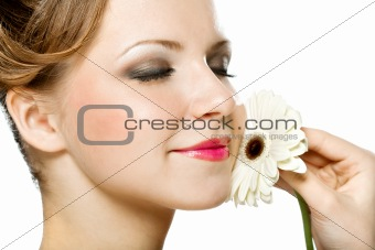 a beauty girl with gerber