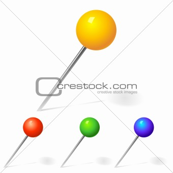 vector set of pins yellow, red and blue colors
