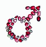 Male mars gender sign of colorful jewels.