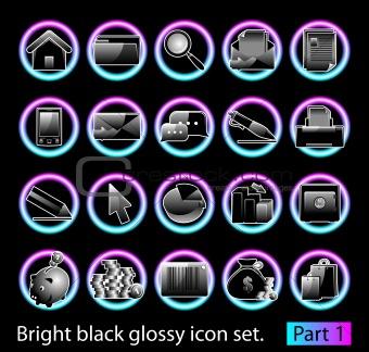 Black glossy icon set 1