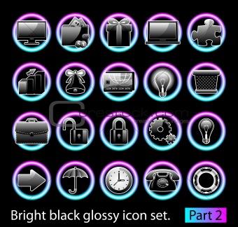 Black glossy icon set 2