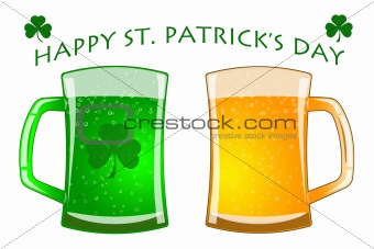 Happy St Patricks Day Glasses of Green and Draft Beer