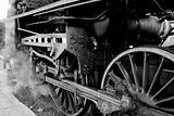 Wheels of an old steam locomotive