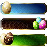Elegant banners with gold-decorated chocolate eggs