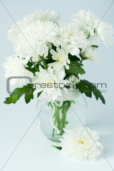 Bouquet of white flowers in a glass vase