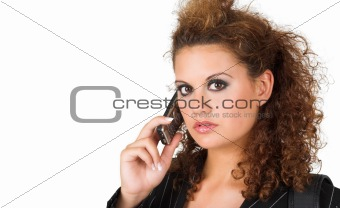 business lady speaking on cell phone