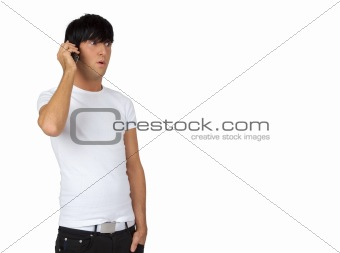 young guy speaking on cell phone