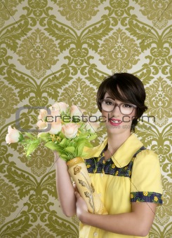 housewife nerd retro woman ugly flowers vase