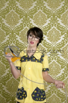 housewife nerd retro unhappy iron chores