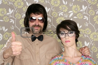 nerd silly couple retro man woman ok hand sign