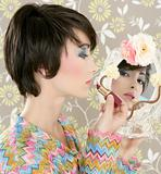retro woman mirror lipstick makeup tacky