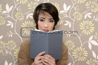 book reading shy woman retro 60s vintage