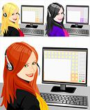 vector set of young beautiful girl telephone operator three color