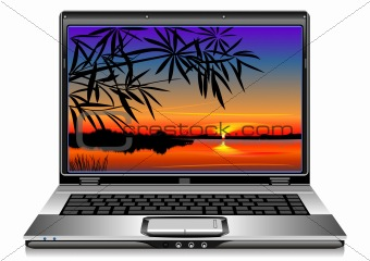 vector open silver laptop on a white background