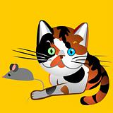 vector British cat tortoiseshell caught the mouse