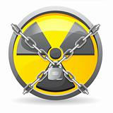 lock with chains on a sign radiation vector illustration