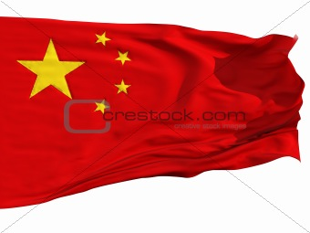Flag of China, fluttered in the wind
