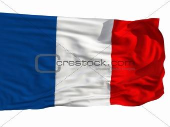 Flag of France, fluttered in the wind