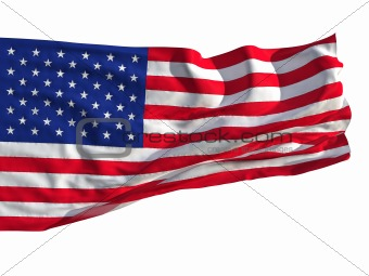 Flag of the United States, fluttered in the wind