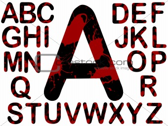 Alphabet - Black with Red Blood Splats
