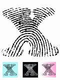 Fingerprint Alphabet Letter X